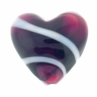 Hand Blown Heart Glass 20mm Amethsyt White Swirl (1PC)