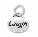 Silver Finish Pewter Message Charm LAUGH (1pc)