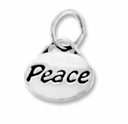 Silver Finish Pewter Message Charm PEACE (1pc)