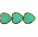 Opaque Turquoise � Picasso 15/15mm Heart Window Beads   (6PK)