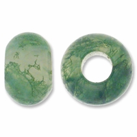 Moss Agate Large Hole Gemstone Rondelle12x8mm (2PK)