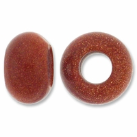 Goldstone Large Hole Gemstone Rondelle12x8mm (2PK)