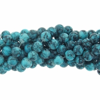 4mm Blue Turquoise Round Glass Beads 16 Inch Strand