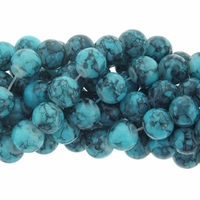 6mm Blue Turquoise Round Glass Beads 16 Inch Strand