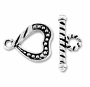 Antiqued Silver Plated 16mm Heart Rope Toggle (5PK)