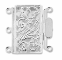 22mm Silver Plated Filigree 3 Strand Push Pearl Clasp (1PC)