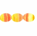 Czech Hurricane Glass 12x10mm Flat Oval Pink Yellow (25PK)