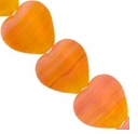Czech Hurricane Glass 10mm Flat Heart Pink Orange (25PK)