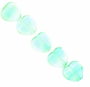 Czech Hurricane Glass 6mm Ice Mint Heart Bead (25PK)