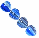 Czech Hurricane Glass Morning View 9mm Heart Bead (25PK)
