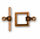 Antique Copper Deco Square Toggle Clasp Set