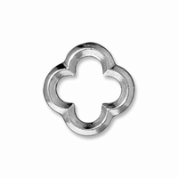 Rhodium Finish Medium Quatrefoil Link