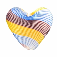 Hand Blown Heart Glass 20mm  White Blue Yellow Amethyst  Swirl (1PC)