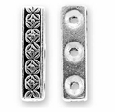 Antique Silver Deco Rose Bar 3 Hole Link