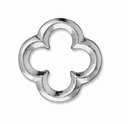 Rhodium Finish Large Quatrefoil Link