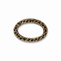 Brass Oxide Hammertone Oval Ring