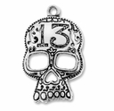 Antiqued Silver 38mm Skull Mask Pendant