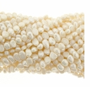 White Baroque Potato Freshwater Pearl  5-6mm Bead Strand