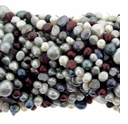 Multi-Color White/Burgandy/Peacock Baroque Freshwater Potato Pearl 5-8mm Bead Strand