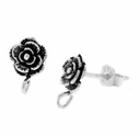 Rose Earring Post w/ Drop (1PR)