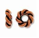 Antique Copper 7mm Twisted Lg. Hole Spacer Bead