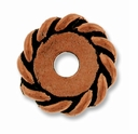 Anti. Copper 12mm Twisted Lg. Hole Spacer Bead