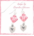 Swarovski and Small Heart Charm Earrings