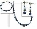 Denim and Lace Necklace Bracelet and Earrings Set