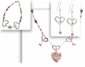 Valentine Heart and Flower Jewelry Set