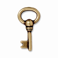 Brass Oxide Oval Key Charm