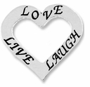Affirmation Heart �Love, Live, and Laugh� (1PC)