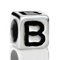 Metallized Plastic Letter B Bead 7mm