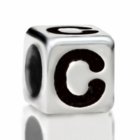 Metallized Plastic Letter C Bead 7mm