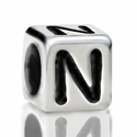 Metallized Plastic Letter N Bead 7mm
