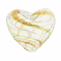 Hand Blown Heart Glass 20mm Clear White / Gold Swirl (1PC)