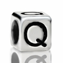 Metallized Plastic Letter Q Bead 7mm