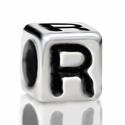 Metallized Plastic Letter R Bead 7mm