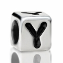 Metallized Plastic Letter Y Bead 7mm
