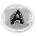 Silver/Rhodium Letter Bead  A