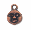 Antiqued Copper Small Moon Face Charm (1PC)