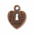 Antiqued Copper 12mm Heart Lock Charm (1PC)