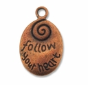 Antiqued Copper 20mm FOLLOW YOUR HEART Pendant (1PC)