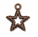 Antiqued Copper 17mm Beaded Open Star Charm (1PC)
