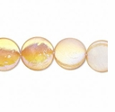 Mother-of-Pearl Apricot AB 14mm Flat Round 15 Inch Strand