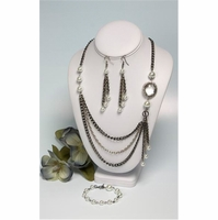 Jewerly Making Kit, Pearls and Crystal Pendant