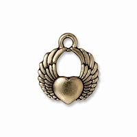 Brass Oxide Winged Heart Charm
