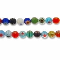 Millefiori 10mm Multi-Color Round Beads 15 Inch Strand