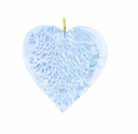 20mm Silver Foil Heart Pendant Aquamarine w/ Gold Finding (1pc)