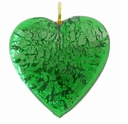 26mm Silver Foil Heart Pendant Emerald w/ Gold Finding (1pc)