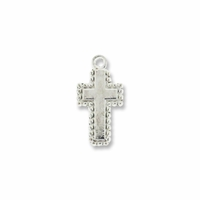 Silver Plated Beaded Cross 19x10mm Charm (10PK)